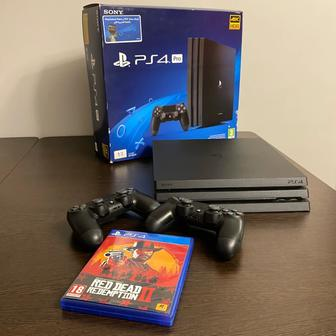 Sony PlayStation 4 Pro 1 TB + 2 геймпада + Red Dead Redemption 2
