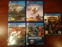 Uncharted коллекция, Horizon zero dawn, Gran Turismo Sport, Second Son, Gow